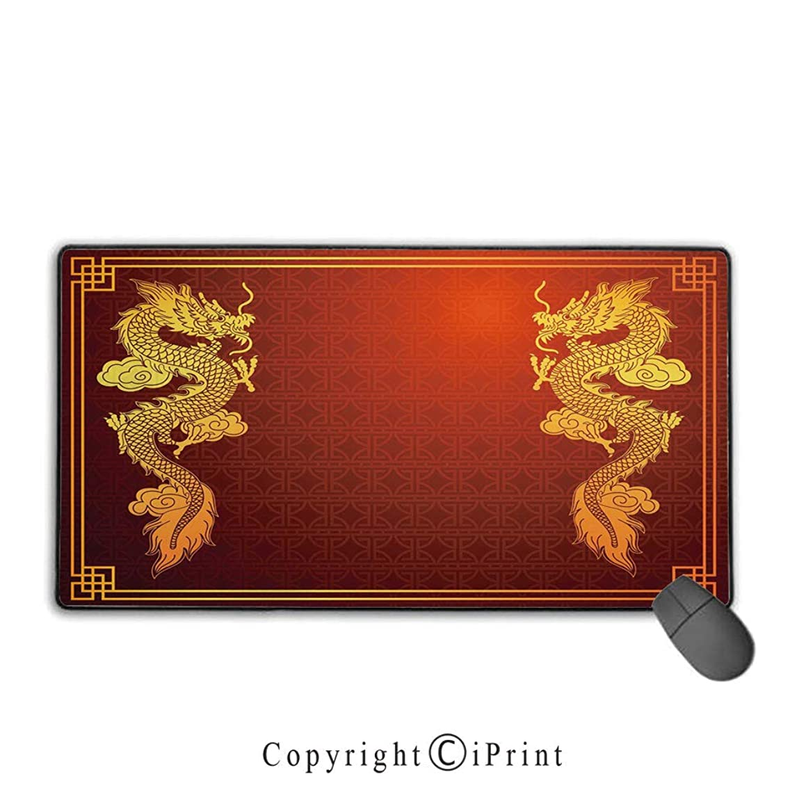 Extended Mousepad with Durable Stitched Edges,Dragon,Chinese Heritage Historical Asian Eastern Motif with Legendary Creature Design Decorative,Orange Yellow,Suitable for laptops, computers, PCs, keybo