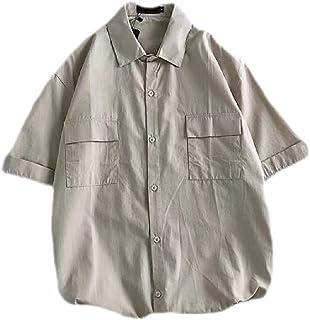 Yisism Men's Short Sleeve Loose Pockets Casual Cotton Linen Shirts