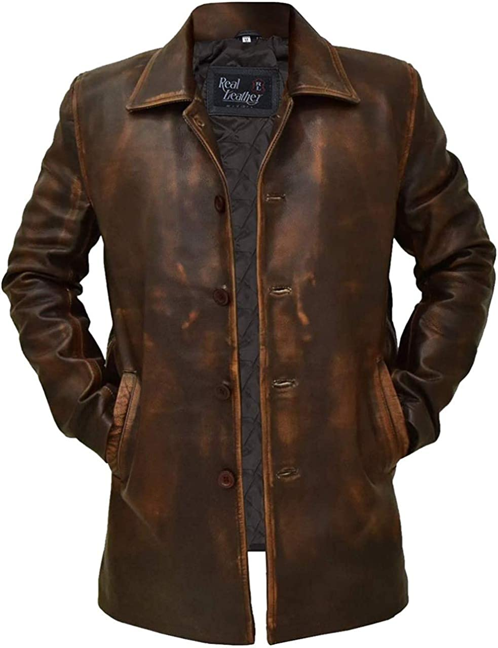 Gifts Mens Western Cow Boy Soft Distressed Sales for sale Trench Brown Coat Vintage