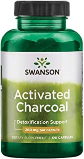 Swanson Activated Charcoal, Detox Support Supplement 260 mg, 120 Capsules, 60 Servings, 520 mg per Serving