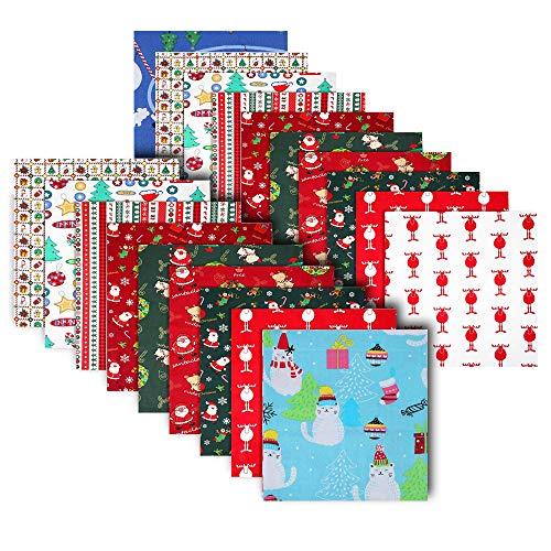 MEISHANG Patchworkstoff Weihnachten,Baumwollstoff Weihnachten Elch,Gemischte Quadrate Bündel Nähen Quilten Handwerk,Weihnachtsmotiv Stoff,Mehrfarbiger Patchwork Baumwolle (Farbe-1)