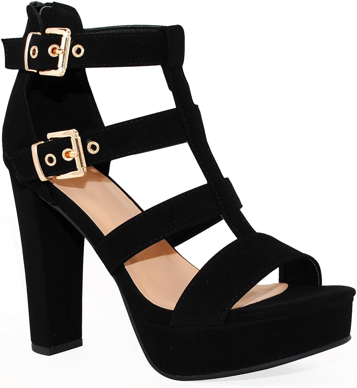 TRENDSup Collection Women's Platform High Heel - Open Toe Sandal Chunky Dress Heel