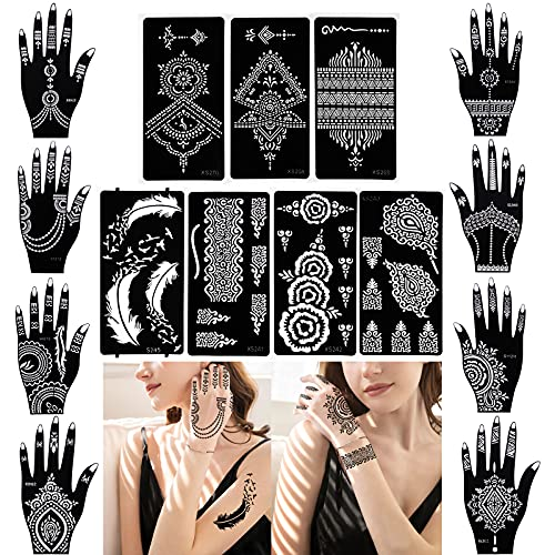 XMASIR 15 Blätter Henna Tattoo Schablonen, Glitter Tattoo Air Brush Tattoo Feder Mandala Blume Schwarz Tattoos Schablone für Frauen Mädchen Hände Finger Körperbemalung