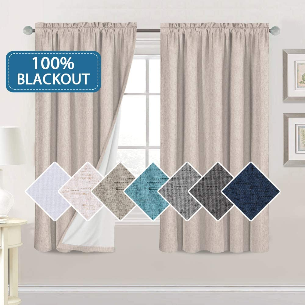 2021 new H.VERSAILTEX Linen Look Max 53% OFF 100% Blackout Long fo Curtains 63 Inches