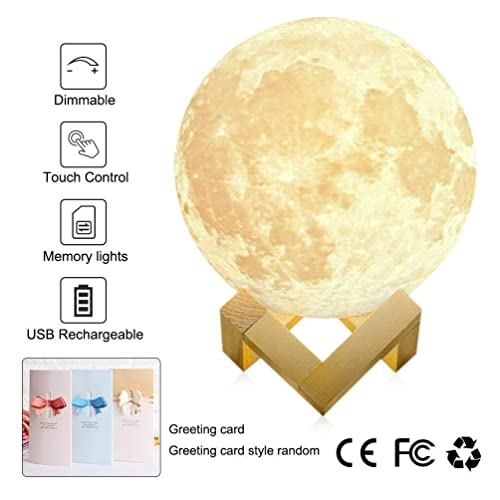 """Large! 7.1""""/18cm Full Moon Lamp LED 3D Printing USB Rechargeable Dimmable Luna Baby Night Light Touch Sensor White/Warm Modern Floor Desk Bedroom Home Decorative Novelty Lights"""