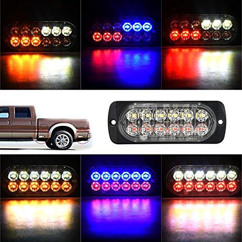 Qii lu 12-24V Camión Coche 12 LED Flash Estroboscópico Luz de advertencia de emergencia Luces intermitentes(Blanco rojo)