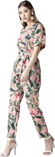 StyleStone Women's Pink Floral Slit Sleeve Jumpsuit with Belt (3472PinkNoraJS)