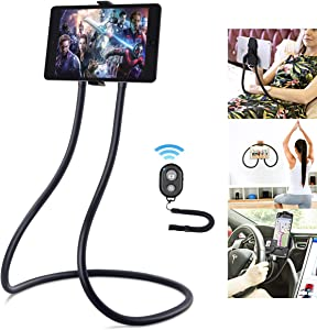 Upgrade Gooseneck Tablet Holder, B-Land Tablet Stand for Bed, Universal Tablet Mount Holder with Remote, Lazy Neck Phone Holder Compatible with iPad Mini Pro Air, iPhone Series, Samsung Tabs & More