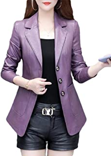 Macondoo Womens Thick Faux Leather Motorcycle Single Breasted Coat Jackets