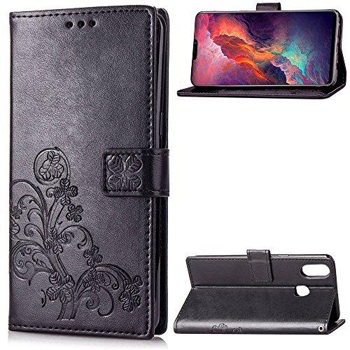 Kihying Hülle für Vivo V9 / Vivo Y85 / Vivo Y89 Hülle Schutzhülle PU Leder Flip Wallet Fashion Geschäft HandyHülle (Schwarz - SD01)