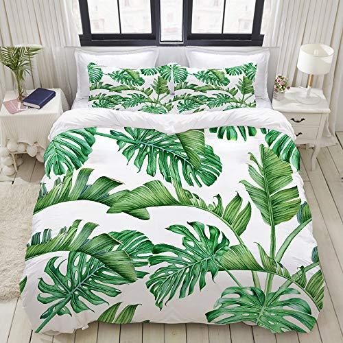 ALLMILL Bedding Juego de Funda de Edredón,Hojas de Palmera Tropical Verde y Monstera Rainforest Acuarela Botánica Aloha,Microfibra Funda de Nórdico y Fundas de Almohada - 220 x 240cm