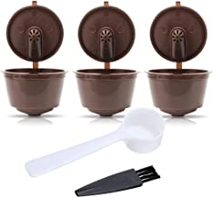 ZUMURCH® Pack of 3 Dolce Gusto Refillable Coffee Pods Capsules Reusable Coffee Filters with Coffee Spoon and Brush-3rd Generation Brown