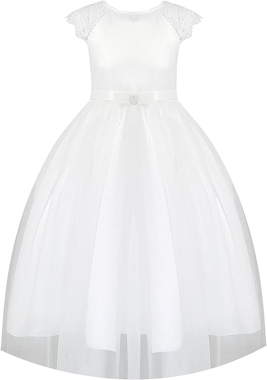 Duoremi Kids Flower Girls Lace Short Sleeve Tulle Dress Satin First Communion Party Formal Dresses