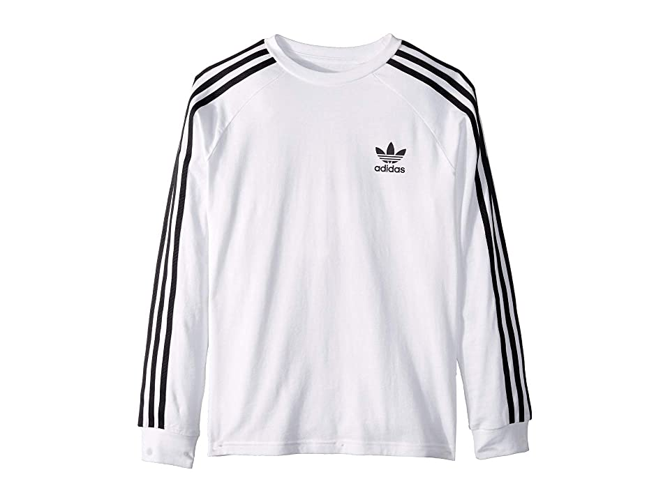 Image of adidas Originals Kids 3-Stripes Long Sleeve (Little Kids/Big Kids) (White/Black) Boy's Long Sleeve Pullover