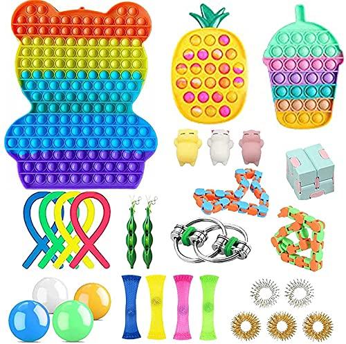 28 Pcs Fidget Toys Pack Cheap, Fidget Toy Fidget Pack with pop for Kids or Adults,Pop Fidget Toy Pop Bubble Fidget Sensory Toy Fidget Toys, Fidget Box with Stress Balls Toys &More… (Hug Big-H)