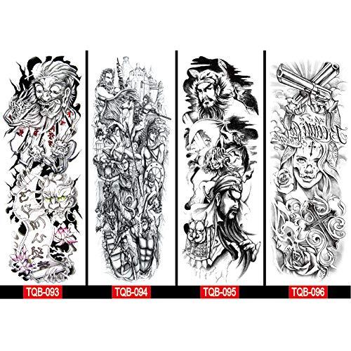 Étanche autocollant de tatouage temporaire bras complet tatouage flash faux manchon de tatouages pour hommes femmes fille garçon art du corps autocollants guerrier autocollant 4 feuilles