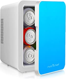 Heat and Cool Mini Fridge - Personal Compact and Portable Electric Cooler and Warmer Box with 4 Liter / 6-Can Storage, Tray, Magnetic Door, 12V AC/DC Power for Office, Car, RV - PKTCEC5BL (Blue)