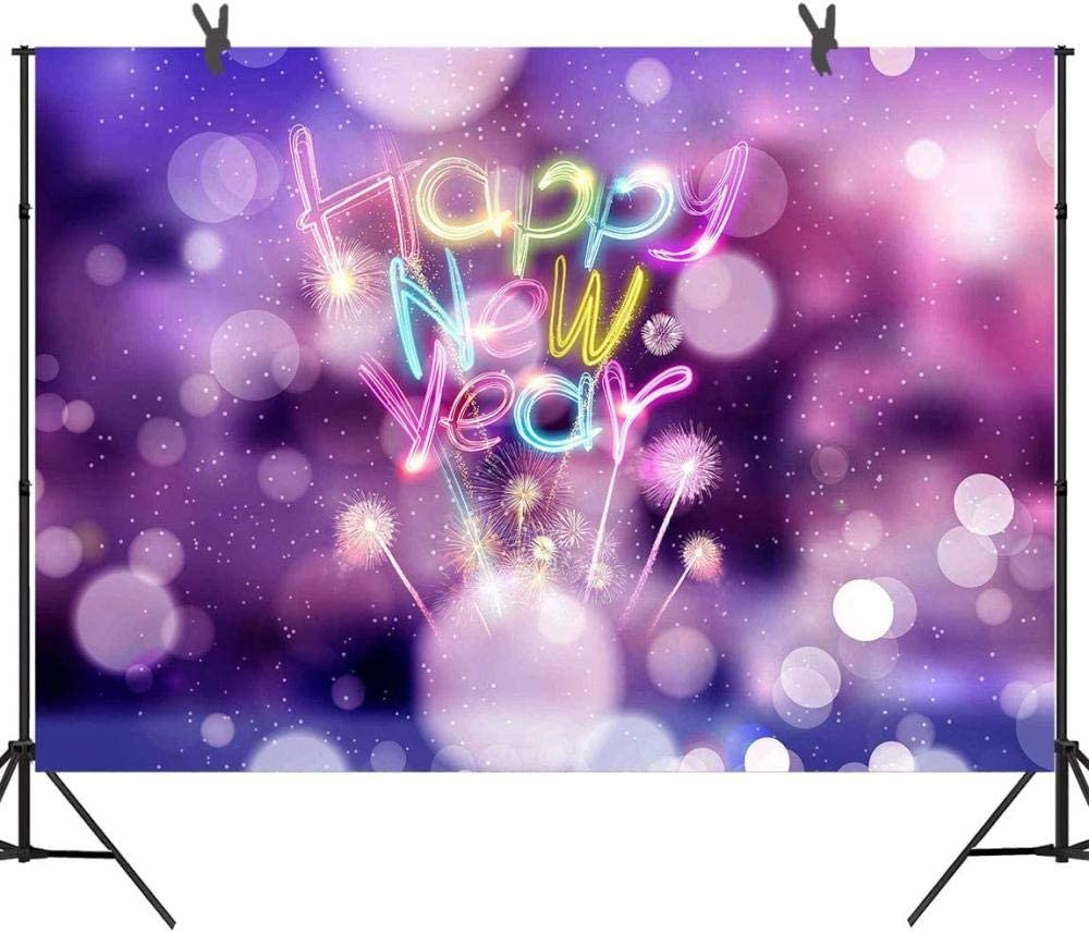 Zhy 7X5FT New Year s Eve Celebration Backdrop for Family Friends Lover Party Photography Fantasy Fireworks Purple Street Blessing Photo Background 471