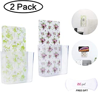 ZC GEL Remote Control Holder Wall Mount Damage-Free Universal Colorful Media Organizer Storage Box,Table and Nightstand Convenient Remote Caddy (2 Pack)
