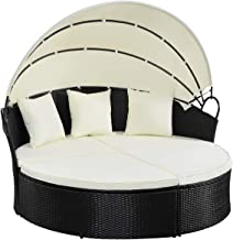 TANGKULA Patio Furniture Outdoor Lawn Backyard Poolside Garden Round with Retractable Canopy Wicker Rattan 74