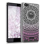 kwmobile Hülle kompatibel mit Wiko Fever 4G - Handyhülle - Handy Hülle Indische Sonne Violett Weiß Transparent