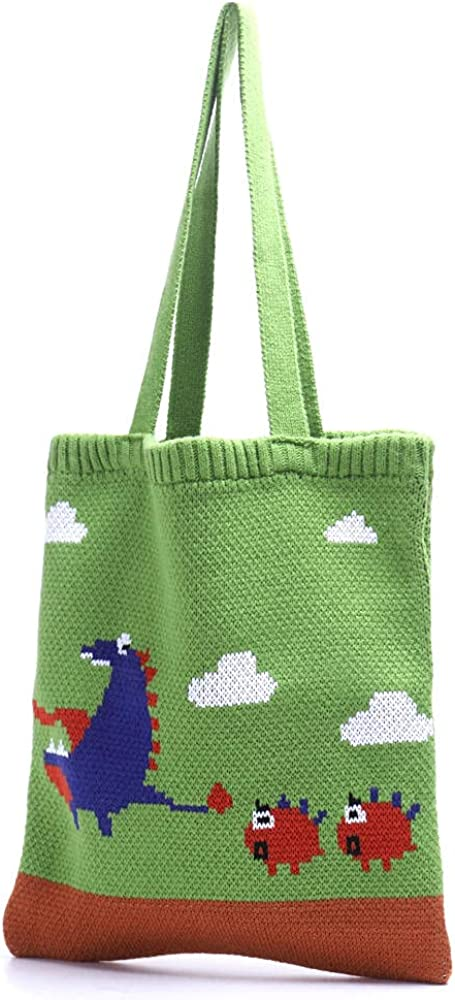 Wool woven handbags Max 75% OFF fashion cartoon hand shopping Inventory cleanup selling sale should bag