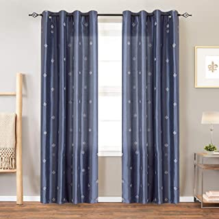jinchan Faux Silk Flur De Lis Embroidered Grommet Top Curtains for Living Room Embroidery Curtain 84 inch Length for Bedroom, 2 Pieces, Slate Blue