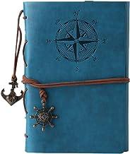 Scaricare Libri Maleden, diario di viaggio in pelle ad anelli, motivo bussola e ciondolo sul retro Sky Blue PDF