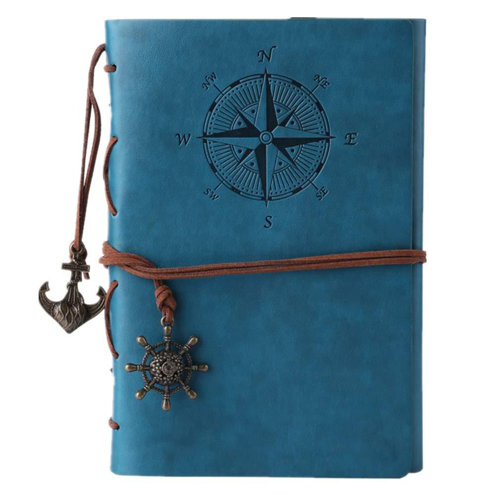 Journal en cuir ordinateur portable, carnet à spirales rechargeable Maleden rechargeable Journal de voyage en relief classique avec pages vierges et pendentifs vintage bleu ciel