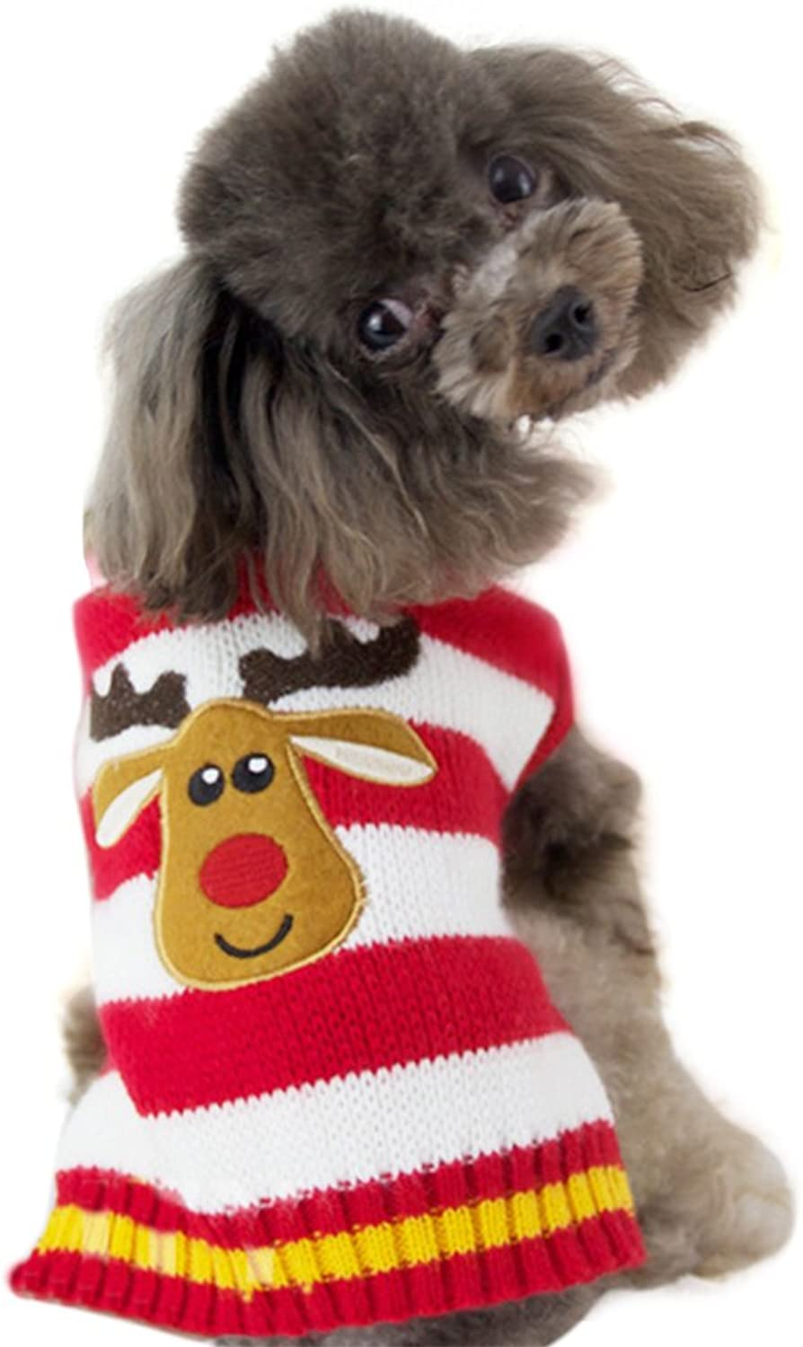 NACOCO Dog Sweater Pet Christmas Elk Sweaters Cat Winter for Holiday and Party (XL, Red)