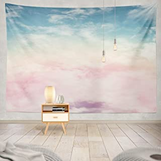 Purple Tapestry Wall Art Sun and Cloud with Pastel Candy Sunset Pink Abstract Fantasy Rainbow Sky Gradient decorative Tape...