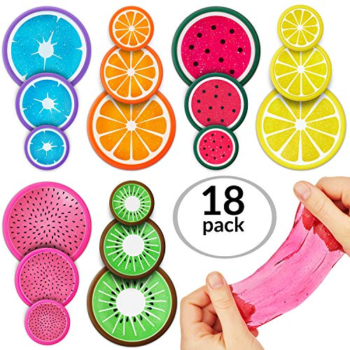 Slime Putty Toy Kit 18pc Multi Pack. Magic Crystal Fruit Themed, Super Stretch Gel Soft, Water Based Toy Set. Fluffy for Kids, Adults, Birthdays, Parties. Stress Relief, Non-Toxic.