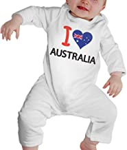 Newborn Baby Long Sleeved Coveralls I Love Australia Australian Flag Heart Infant Long Sleeve Romper Jumpsuit