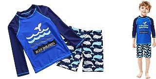Boys Swimsuits Swimwear Long Sleeve Blue Dolphin Rash Guard Bathing Costumes 3-8 Years