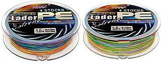 NUZAMAS Conjunto de Dos líneas de Pesca Trenzadas, Total de 200m, Colores Mezclados, 4 Hilos Trenzados, líneas Trenzadas de PE súper Lisas, tamaño 1.0(8.3 kg/18.3lb) y tamaño 3.0(20.8kg/45.86lb)