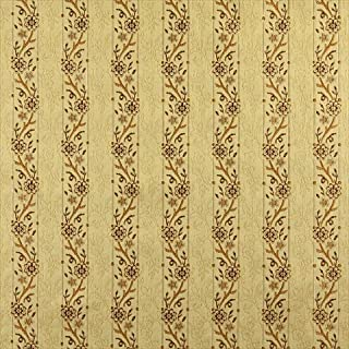Designer Fabrics K0013H 54 in. Wide Gold44; Brown And Ivory Embroidered44; Striped44; Floral Brocade44; Upholstery And Win...