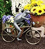 Ebros 26.75' Tall Aluminum Metal Whimsical Biking Expedition Bicycling Frog with Helmet Garden Stake Statue Frogs Patio Pool Pond Lawn Yard Decorative Sculpture Feng Shui Zen Accent