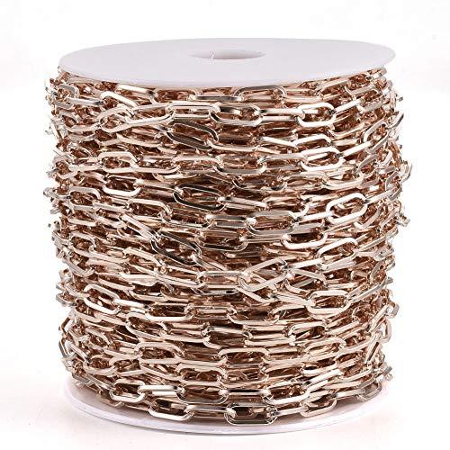 Cheriswelry Cadena de hierro de 25 m, 12,5 x 6 mm, cadena cruzada sin soldar, ovalada, con carrete para joyas, pulseras, collares, manualidades (oro rosa)