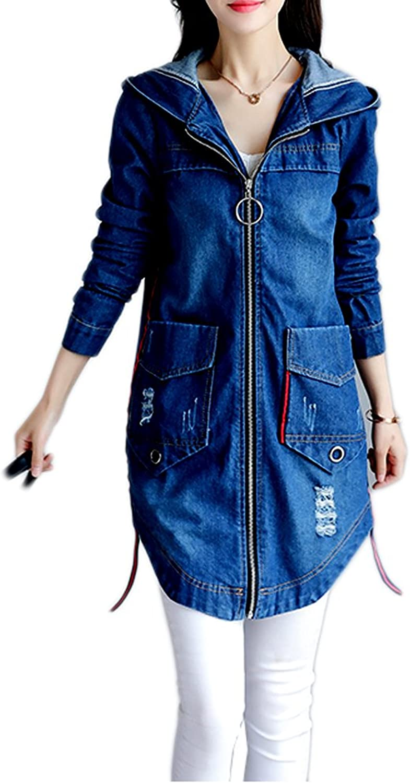 Kaachli Women's Cotton Denim Long Zipper Ripped Jeans Coat Hoodie Jacket