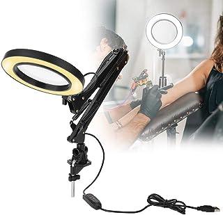 USB Luz De Belleza Del Tatuaje Con Lupa 5X y Abrazadera, Lámpara De Mesa LED Con Luz Fría Y Luz Cálida Para Salón Y Lectura