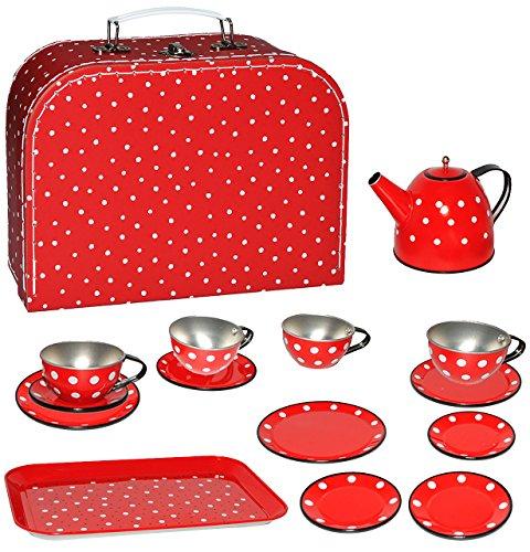 alles-meine.de GmbH Picknick Koffer _ 16 TLG. Set - Puppenkoffer & Puppengeschirr -  Punkte - rot weiß  - Tablett & Geschirr aus Blech - Metall - Blechgeschirr - Spiel Küche Zu..