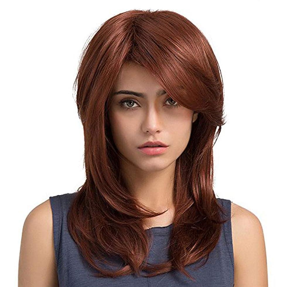 鬼ごっこロープ化石かつらロングストレートヘアレッドかつら人工毛完全な女性耐熱繊維グルーレスかつら部分フリンジ 130% 毎日パーティーハロウィーンのための高密度
