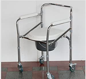 jiaminmin Aluminum alloy Bedside Commode Steel Commode foldable elderly pregnant women disabled people bath chair wheelchair toilet chair  white plating steel