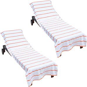 Arkwright Pool Chair Covers (Oversized:30x85 Inch, 2-Pack), Cotton Chaise Lounge Cover with 8 Inch Deep Pocket to Fit Any Beach Chair (Orange)