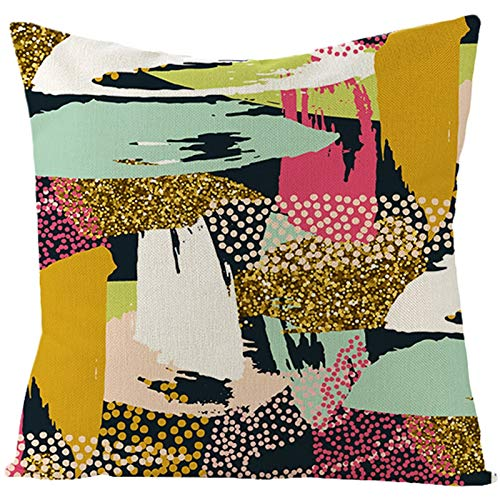 Banemi Fundas Cojines de Sofa, Pintura de Arte Abstracto Poliéster Negro Oro Rosa para Exteriores En Casa 50X50cm