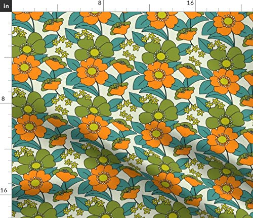 Spoonflower Fabric - 70S Floral Orange Retro Funny Hippie Medium Olive Green Teal Vintage Printed on Petal Signature Cotton Fabric by The Yard - Sewing Quilting Apparel Crafts Decor