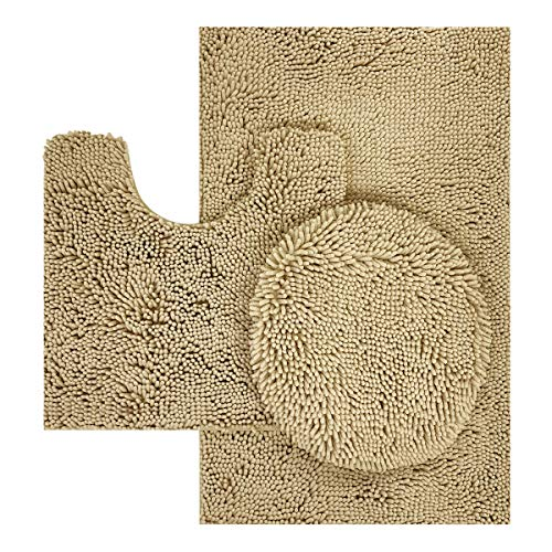 TREETONE Chenille Bath Mat 3 Piece Bathroom Rugs Set, 20x20 Inchs U-Shape Contoured Toilet Mat & 20x32 Inchs Rug & 1 Lid Cover,Soft,Water Absorbent Plush Rugs for Tub Shower & Bath Room -Beige