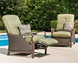 Hanover Ventura Outdoor Patio Recliner with Hand-Woven Wicker, Rust-Resistant Frames, and Thick Vintage Meadow Green Cushions, VENTURAREC