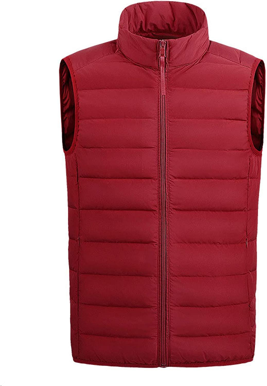 Men Packable Lightweight Puffer Vest Polyester Stand Collar Side Pockets Waistcoat Outdoor Sports Sleeveless Jackets Gilet