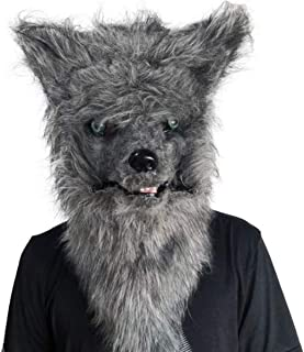 USDREAM Wolf Costume Mask with Moving Mouth Grey